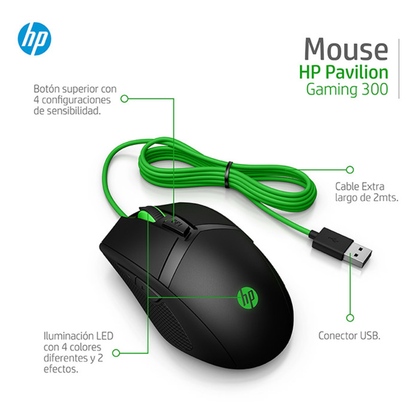 Mouse HP Alambrico 300 Pavilion Gaming - 9